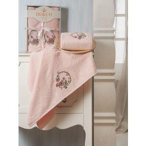 Набор из 2 полотенец Do and Co Yasmin с вышивкой (50х90/70х140) (8585 персиковый)