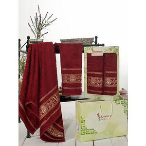 Набор из 2 полотенец Juanna Kafa бамбук (50х90/70х140) (7592 бордовый)