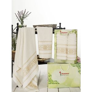 Набор из 2 полотенец Juanna Kafa бамбук (50х90/70х140) (7592 кремовый)