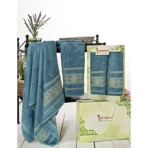 Набор из 2 полотенец Juanna Kafa бамбук (50х90/70х140) (7592 светло синий)