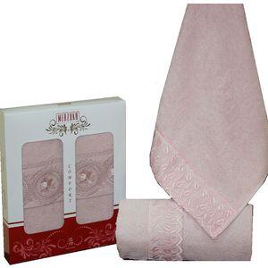 Набор из 2 полотенец Merzuka Elit с гипюром (50х90) (8442 розовый)
