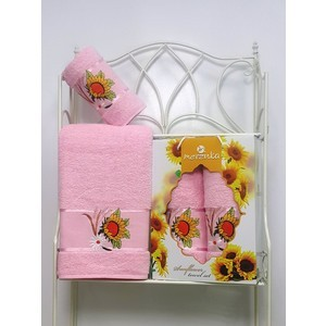 Набор из 2 полотенец Merzuka Sunflower (50х80/70х130) (8979 светло-розовый)