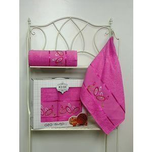 Набор из 2 полотенец Merzuka Geo (50х90/70х140) (8424 розовый) merzuka elit 50х90 8543 розовый