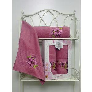 Набор из 2 полотенец Merzuka Sakura (50х90/70х140) (8430 тёмно-розовый) набор из 3 полотенец merzuka sakura 50х90 2 70х140 8432 сиреневый