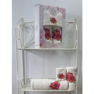 Набор из 3 полотенец Merzuka Sakura (30x50/50x90/70x140) (8431 кремовый)