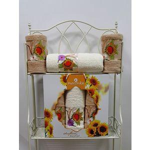 где купить  Набор из 3 полотенец Merzuka Sunflower (50х80-2/70х130) (9047 бежевый)  по лучшей цене