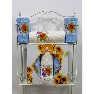 где купить  Набор из 3 полотенец Merzuka Sunflower (50х80-2/70х130) (9047 голубой)  по лучшей цене