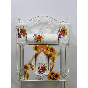 где купить  Набор из 3 полотенец Merzuka Sunflower (50х80-2/70х130) (9047 кремовый)  по лучшей цене