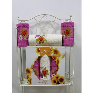 где купить  Набор из 3 полотенец Merzuka Sunflower (50х80-2/70х130) (9047 светло-лиловый)  по лучшей цене