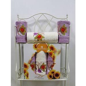 Набор из 3 полотенец Merzuka Sunflower (50х80-2/70х130) (9047 сиреневый) набор из 3 полотенец merzuka sakura 50х90 2 70х140 8432 оранжевый