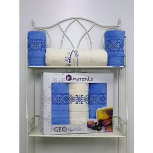 Набор из 3 полотенец Merzuka Geo (50х90-2/70х140) (8425 голубой) oran merzuka набор из 3 полотенец zambak цвет малиновый