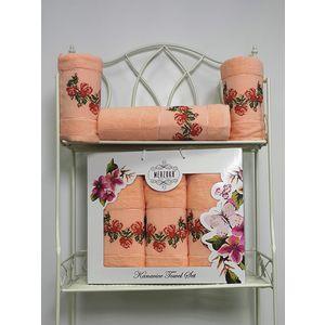 Набор из 3 полотенец Merzuka Kanavice (50х90-2/70х140) (8545 персиковый) oran merzuka набор из 3 полотенец zambak цвет малиновый