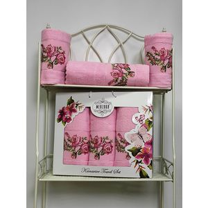 Набор из 3 полотенец Merzuka Kanavice (50х90-2/70х140) (8545 розовый) набор из 3 полотенец merzuka sakura 50х90 2 70х140 8432 розовый