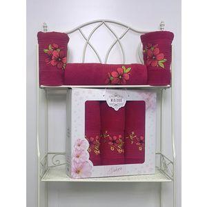 Набор из 3 полотенец Merzuka Sakura (50х90-2/70х140) (8432 бордовый) набор из 3 полотенец merzuka sakura 50х90 2 70х140 8432 розовый