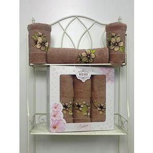 Набор из 3 полотенец Merzuka Sakura (50х90-2/70х140) (8432 коричневый) набор из 3 полотенец merzuka sakura 50х90 2 70х140 8432 розовый