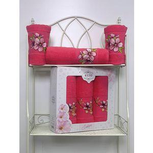 Набор из 3 полотенец Merzuka Sakura (50х90-2/70х140) (8432 малиновый) набор из 3 полотенец merzuka sakura 50х90 2 70х140 8432 розовый