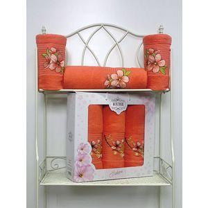 Набор из 3 полотенец Merzuka Sakura (50х90-2/70х140) (8432 оранжевый) набор из 3 полотенец merzuka sakura 50х90 2 70х140 8432 сиреневый