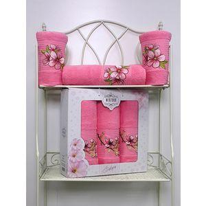 Набор из 3 полотенец Merzuka Sakura (50х90-2/70х140) (8432 розовый) набор из 3 полотенец merzuka sakura 50х90 2 70х140 8432 розовый