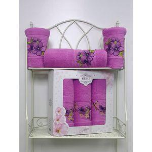 Набор из 3 полотенец Merzuka Sakura (50х90-2/70х140) (8432 светло-лиловый) набор из 3 полотенец merzuka sakura 50х90 2 70х140 8432 розовый