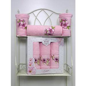 Набор из 3 полотенец Merzuka Sakura (50х90-2/70х140) (8432 светло-розовый) набор из 3 полотенец merzuka sakura 50х90 2 70х140 8432 розовый