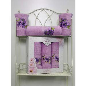 Набор из 3 полотенец Merzuka Sakura (50х90-2/70х140) (8432 сиреневый) набор из 3 полотенец merzuka sakura 50х90 2 70х140 8432 розовый