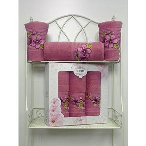 Набор из 3 полотенец Merzuka Sakura (50х90-2/70х140) (8432 тёмно-розовый) набор из 3 полотенец merzuka sakura 50х90 2 70х140 8432 розовый
