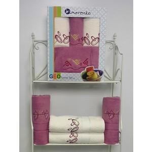 Набор из 4 полотенец Merzuka Geo (50х90-2/70х140-2) (8426 розовый) набор из 3 полотенец merzuka sakura 50х90 2 70х140 8432 оранжевый