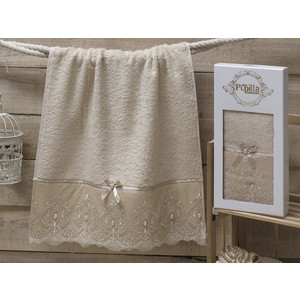 Полотенце Pupilla Inci бамбук с гипюром камушками (50x90) (8686 бежевый) цены онлайн