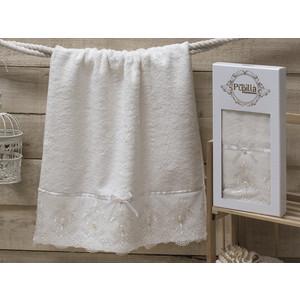 Полотенце Pupilla Inci бамбук с гипюром камушками (50x90) (8686 кремовый) цены онлайн