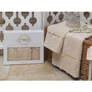 Набор из 2 полотенец Pupilla Inci бамбук с гипюром и камушками (50x90/70x140) (8682 бежевый) цены онлайн