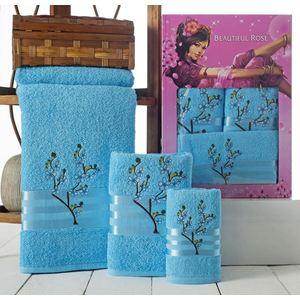 Набор из 3 полотенец Beautiful Rose Moonlight sakura с вышивкой (30х50/50х90/70х140) (9042 бирюзовый)