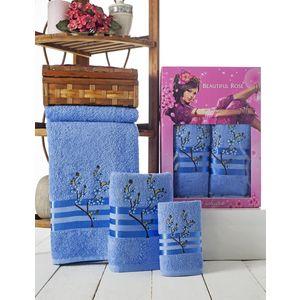 Набор из 3 полотенец Beautiful Rose Moonlight sakura с вышивкой (30х50/50х90/70х140) (9042 голубой)