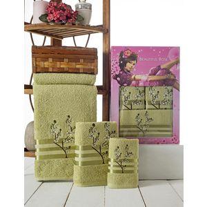 Набор из 3 полотенец Beautiful Rose Moonlight sakura с вышивкой (30х50/50х90/70х140) (9042 зелёный)