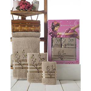 Набор из 3 полотенец Beautiful Rose Moonlight sakura с вышивкой (30х50/50х90/70х140) (9042 коричневый)