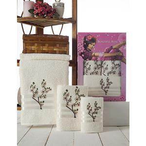 Набор из 3 полотенец Beautiful Rose Moonlight sakura с вышивкой (30х50/50х90/70х140) (9042 кремовый)