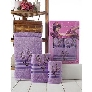 Набор из 3 полотенец Beautiful Rose Moonlight sakura с вышивкой (30х50/50х90/70х140) (9042 лиловый)