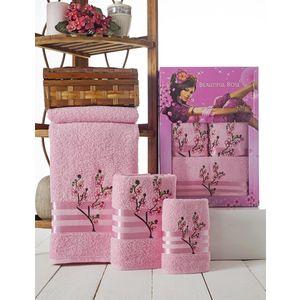 Набор из 3 полотенец Beautiful Rose Moonlight sakura с вышивкой (30х50/50х90/70х140) (9042 розовый)