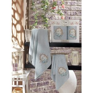Набор из 2 полотенец Sikel Izgu бамбук с вышивкой (50x90/70x140) (9037 голубой)