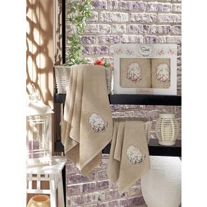 все цены на  Набор из 2 полотенец Sikel Izgu бамбук с вышивкой (50x90/70x140) (9037 коричневый)  в интернете
