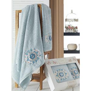 Набор из 2 полотенец Sikel Kamelya бамбук с вышивкой (50x90/70x140) (9038 голубой) sikel набор из 2 полотенец nazande цвет коричневый