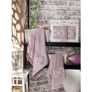 Набор из 2 полотенец Sikel Kamelya бамбук с вышивкой (50x90/70x140) (9038 лиловый) sikel набор из 2 полотенец nazande цвет коричневый