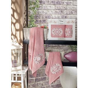 Набор из 2 полотенец Sikel Kamelya бамбук с вышивкой (50x90/70x140) (9038 пудра) sikel набор из 2 полотенец nazande цвет коричневый