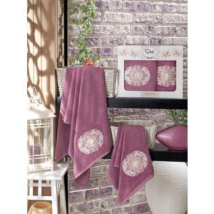 Набор из 2 полотенец Sikel Kamelya бамбук с вышивкой (50x90/70x140) (9038 фиолетовый) sikel набор из 2 полотенец nazande цвет коричневый