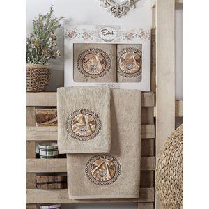 Набор из 2 полотенец Sikel Nazande бамбук с вышивкой (50x90/70x140) (9000 коричневый)