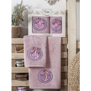 Набор из 2 полотенец Sikel Nazande бамбук с вышивкой (50x90/70x140) (9000 лиловый)