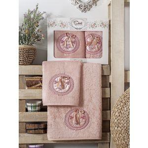 Набор из 2 полотенец Sikel Nazande бамбук с вышивкой (50x90/70x140) (9000 пудра)