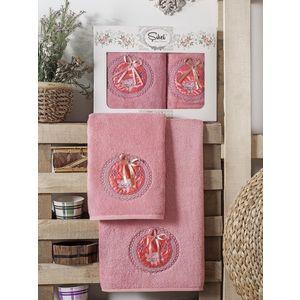 Набор из 2 полотенец Sikel Nazande бамбук с вышивкой (50x90/70x140) (9000 розовый) sikel набор из 2 полотенец nazande цвет коричневый