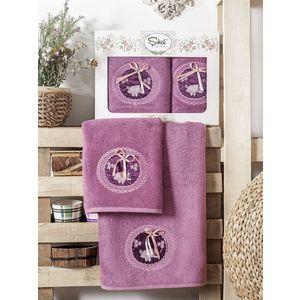 Набор из 2 полотенец Sikel Nazande бамбук с вышивкой (50x90/70x140) (9000 фиолетовый)