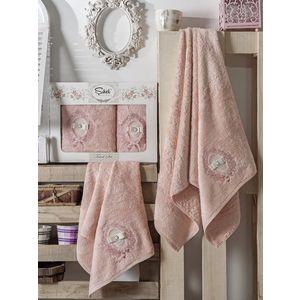 все цены на Набор из 2 полотенец Sikel Rodos бамбук с вышивкой (50x90/70x140) (9001 пудра) в интернете