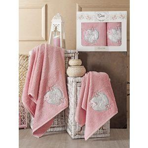 Набор из 2 полотенец Sikel Simli kalp бамбук с вышивкой (50x90/70x140) (9002 розовый) sikel набор из 2 полотенец nazande цвет коричневый